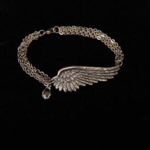 Silver Tone Wing Bracelet w/Stone - Illinois Domestic Abuse Shop - Angel Jewelry