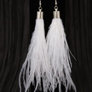 White Long Feather Tassel Earrings Armored Angels Domestic Violence Abuse Prevention - 1
